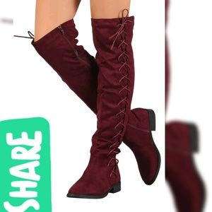 Shoes - New woman Vegan Suede Boots Over knee
